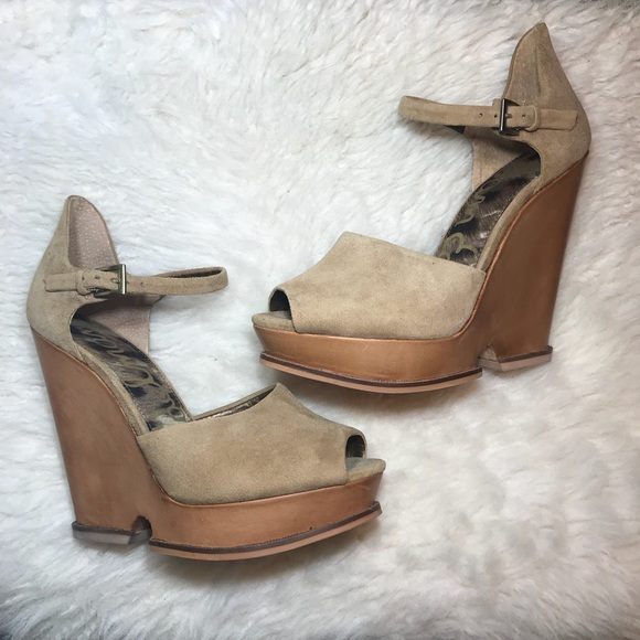 925ae9b4df22ef Sam Edelman Shoes - Sam Edelman Javi Brown Suede Platform Wedges 7M